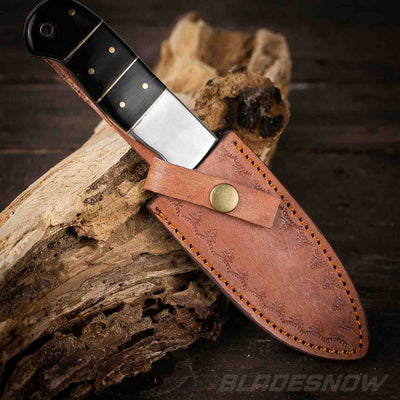 Damascus Steel Hunting Knife and Wood Handle Leather Sheath