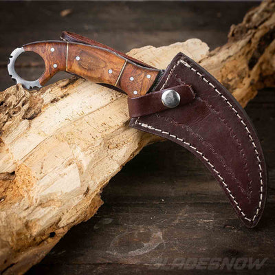 Damascus Steel Karambit Fixed Blade Knife Wooden Handle