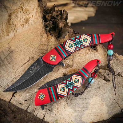 red Native American spring assisted Knife