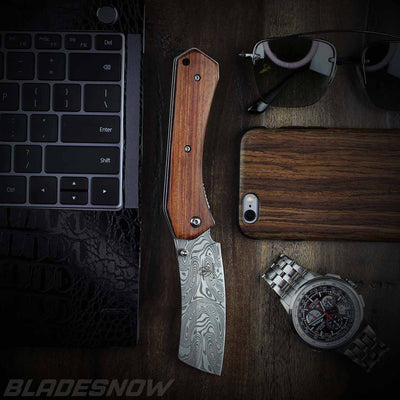 Pocket Cleaver Spring Assist Pocket Knife Damascus Pattern