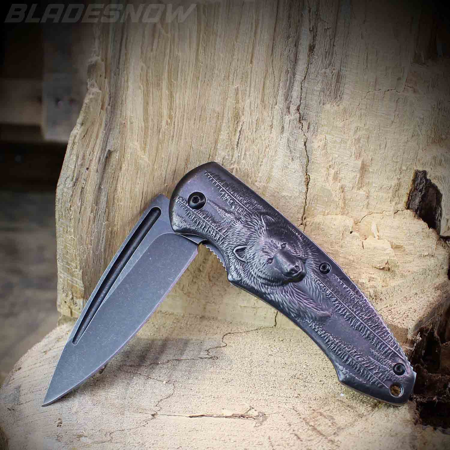 Gunmetal Bear Spring Assisted Pocket Knife