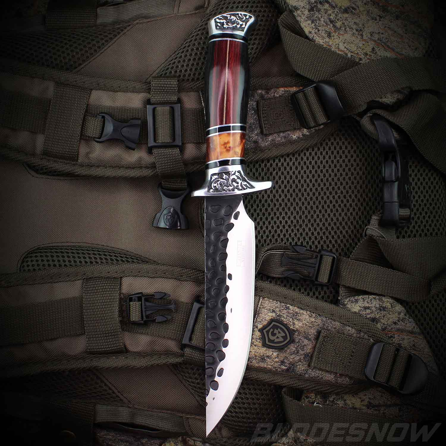 Ornate Dark Wood Bowie Hunting Knife | Fixed Blade Knives