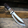 2-Tone hunting knife partial tang  with wood handle