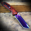 Katana style folding knife with Redwood handle
