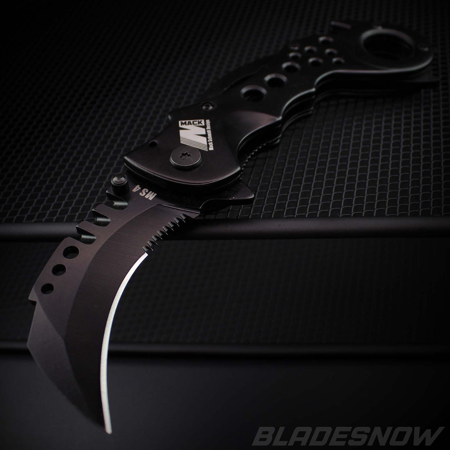 Mack Schmidt Black Karambit Spring Assist Folder