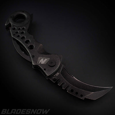 Mack Schmidt Stonewashed Karambit Spring Assist Folder