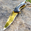 Raptor Spring Assisted Pocket Knife Platinum Gold