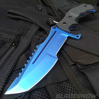 Video Game Blue Tactical Fixed Blade Bowie Knife