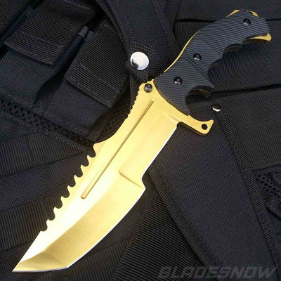 Video Game Gold Tactical Fixed Blade Bowie Knife