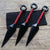 3 PC Kunai Throwers Red Paracord Wrapped Knife Set