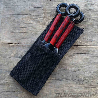 Red paracord wrapped handle knife set with nylon sheath