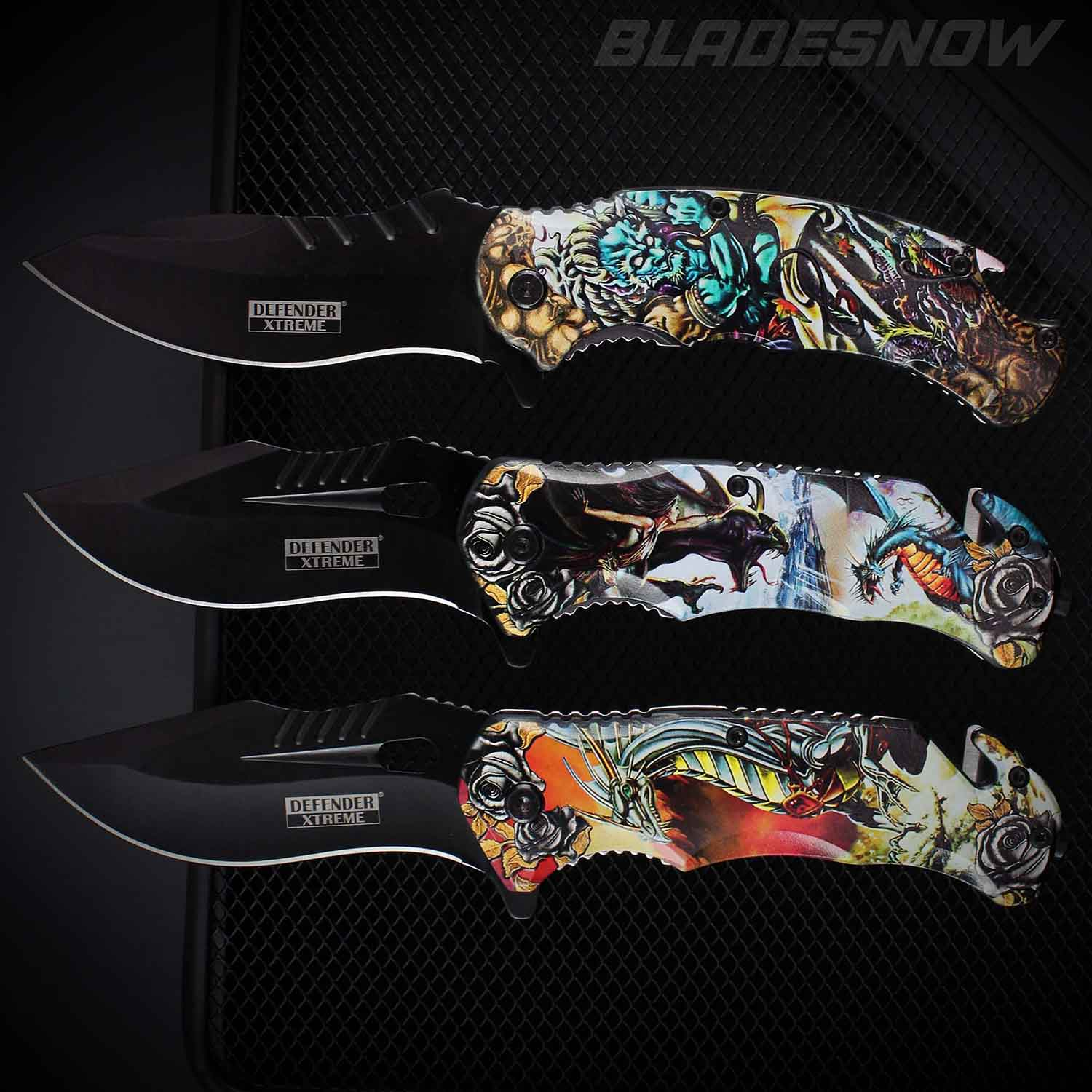 Dragons & Demons Spring Assisted Folder Knife Set