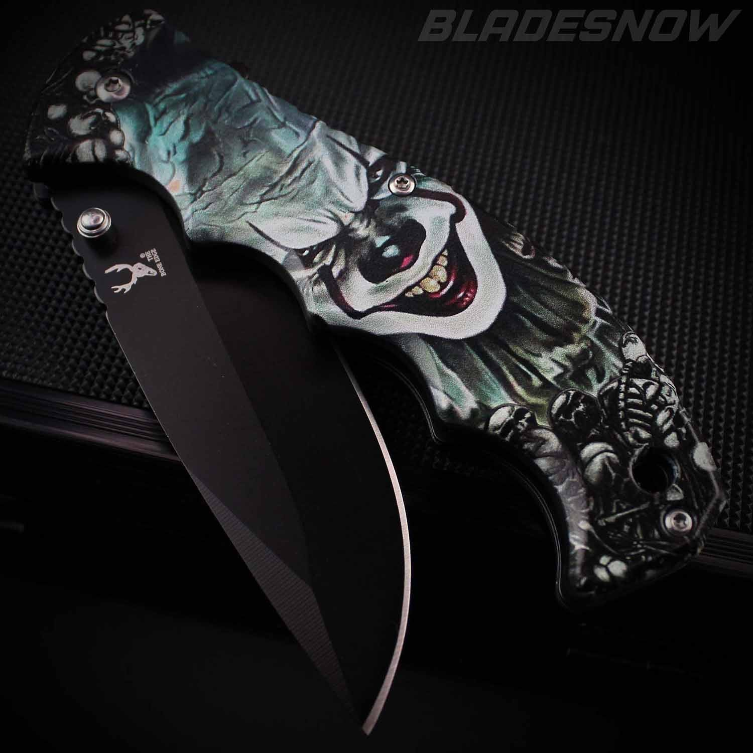 Demon Clown Skull 3D Art Spring Assisted Pocket Knife