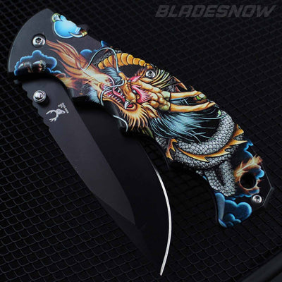 Fire Breathing Spring Assisted Pocket Knife
