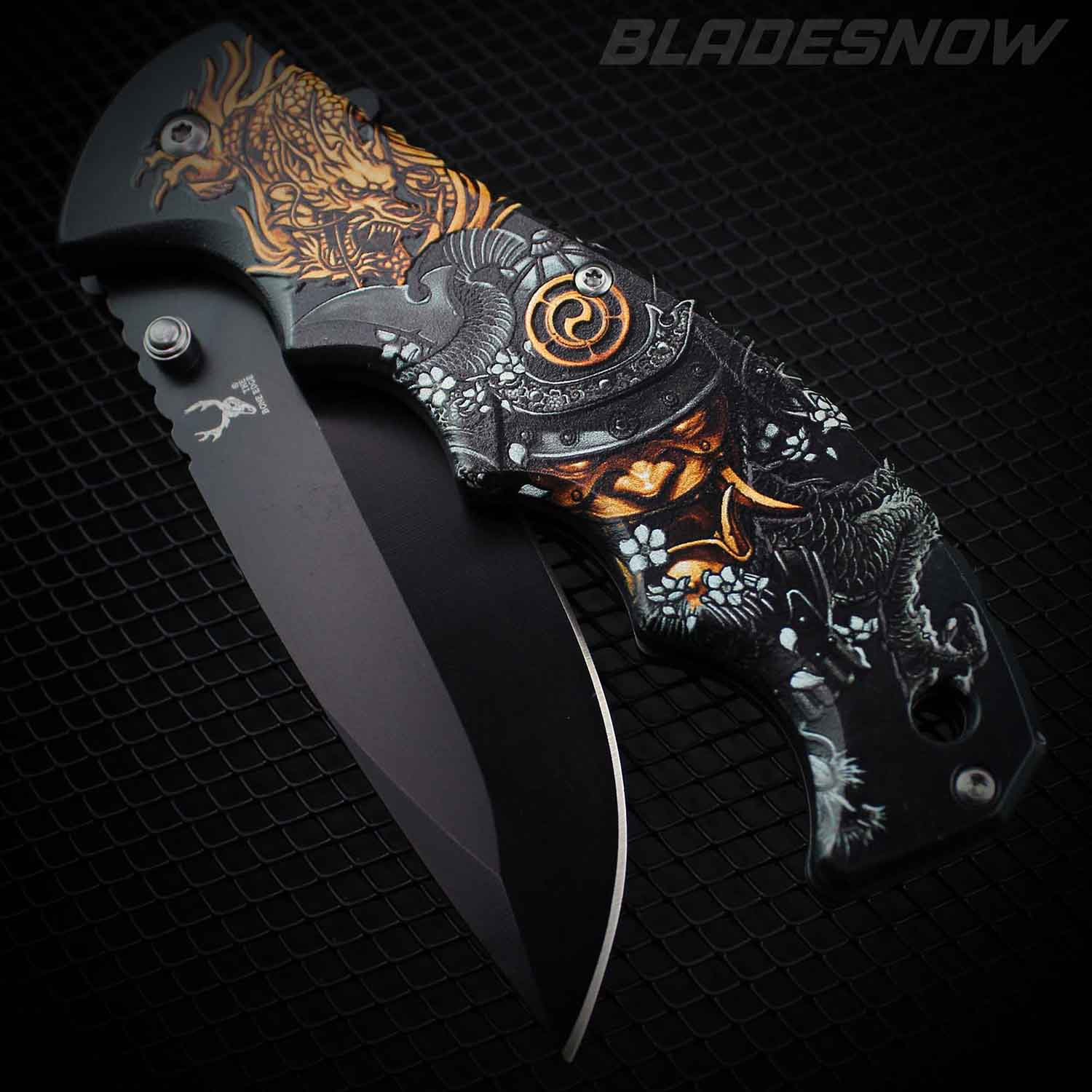Spring assisted pocket knife Demon samurai dragon slayer