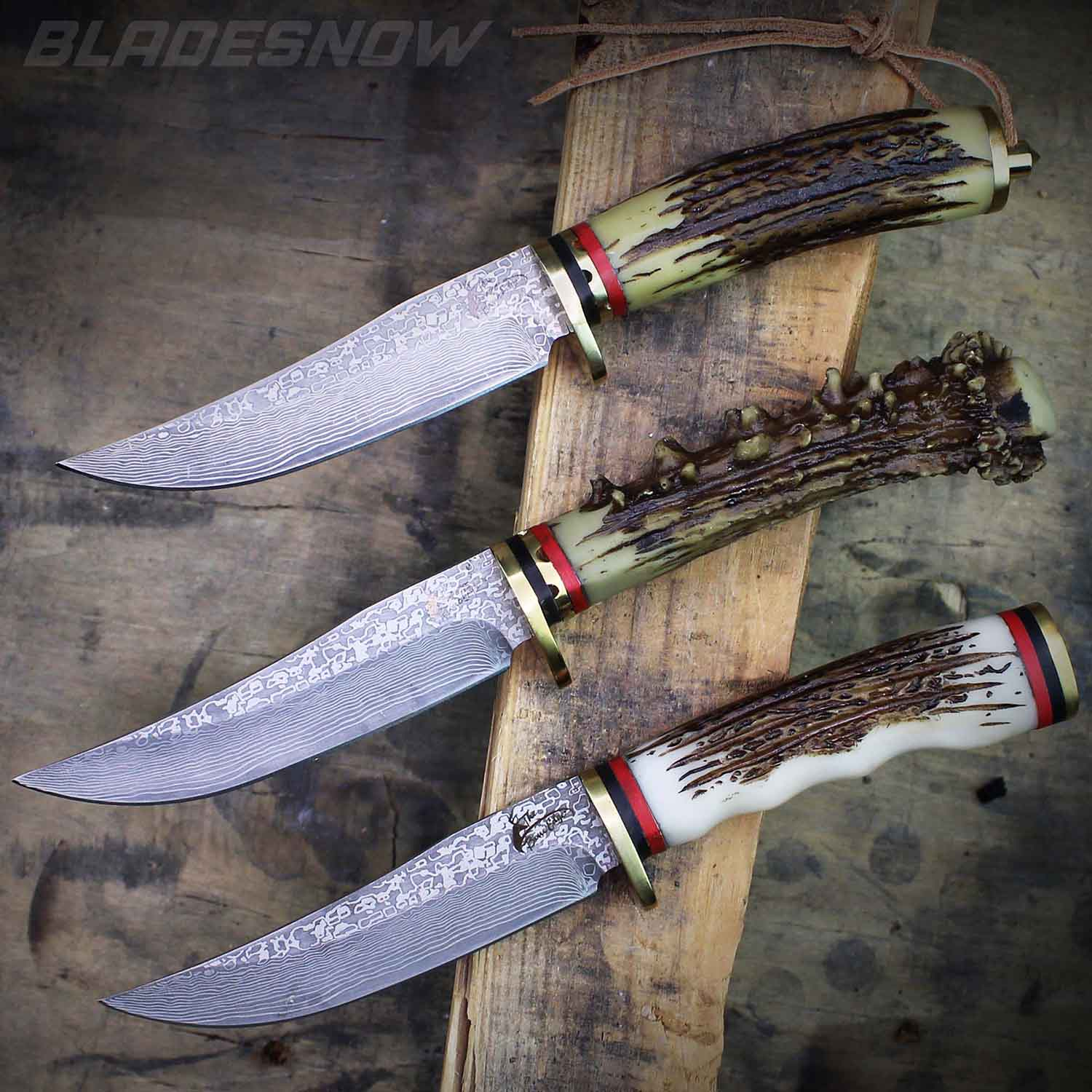 Faux Stag & Damascus Fixed Blade Hunting Knife Set 3pc
