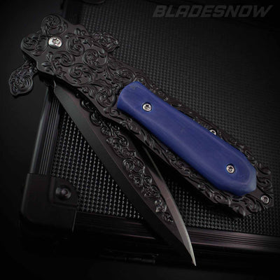 Gothic Blue Ornate Stiletto Spring Assisted Pocket Knife