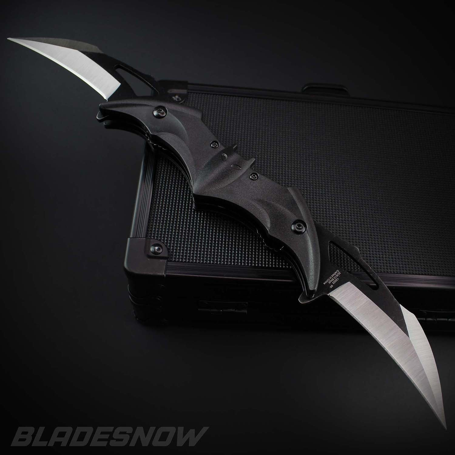 Bat Karambit Twin Blade Spring Assisted Pocket Knife