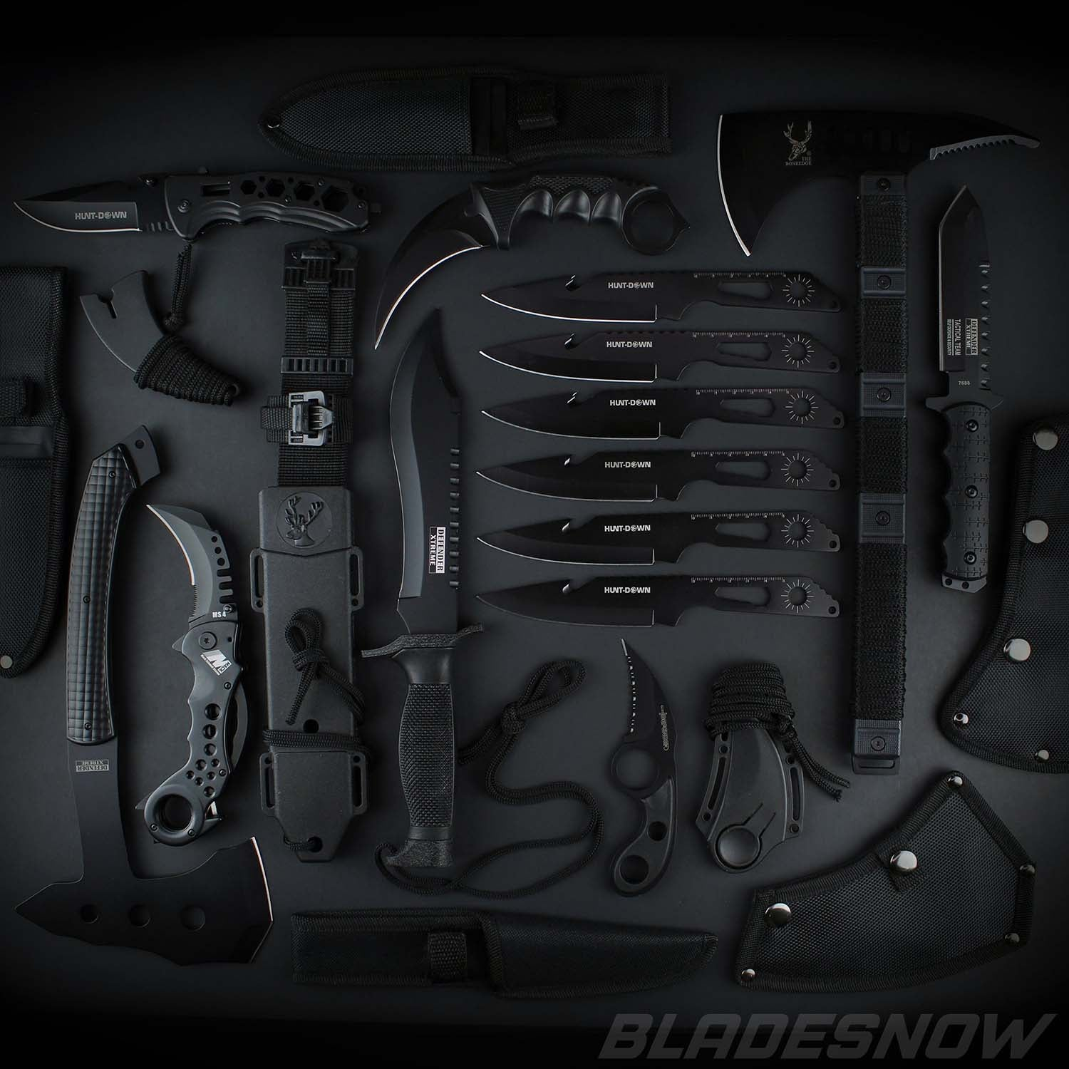 15pc Tactical Knife set Black - All Type of Knife Set
