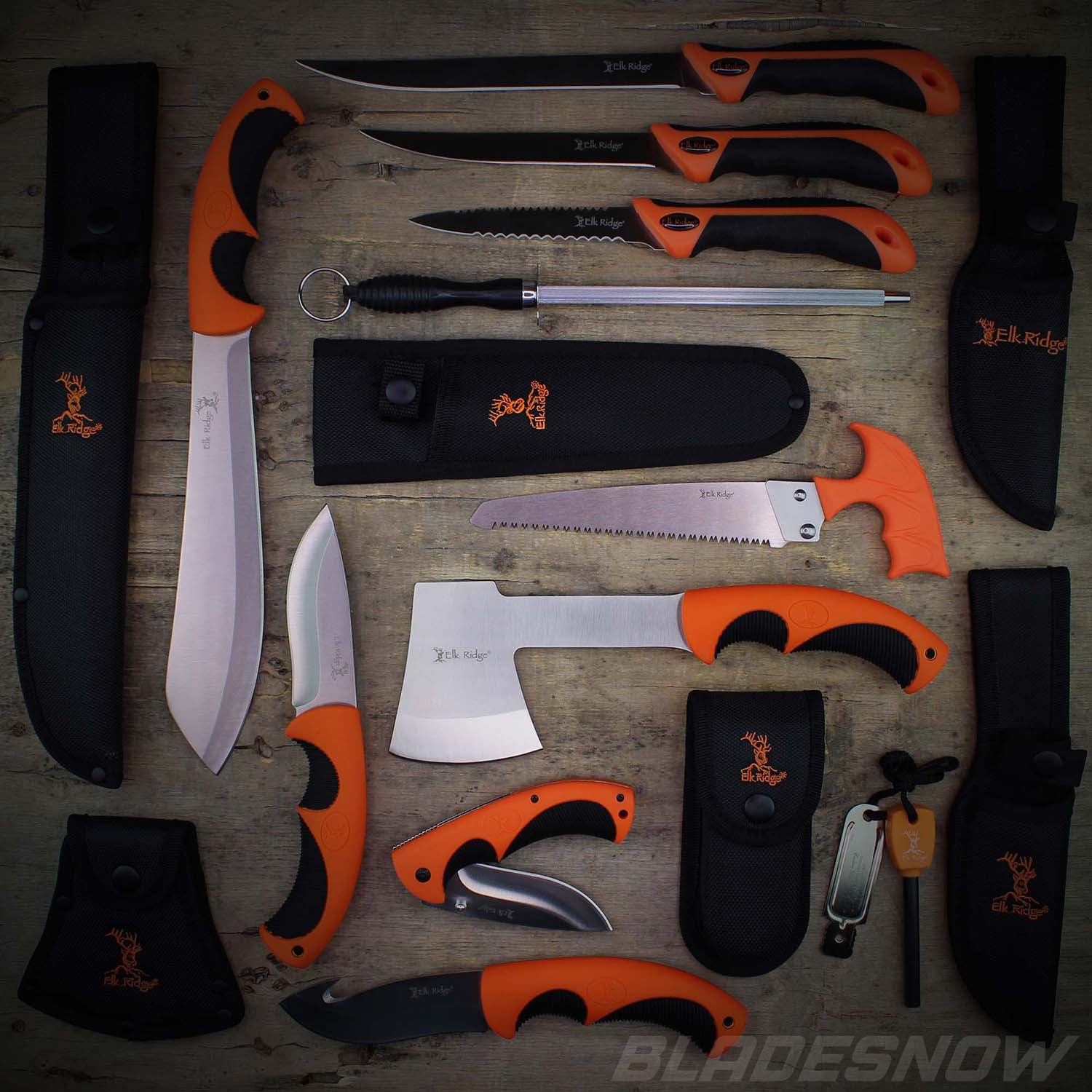 12pc Hunting, Camping, Survival Knife Set in Orange Color