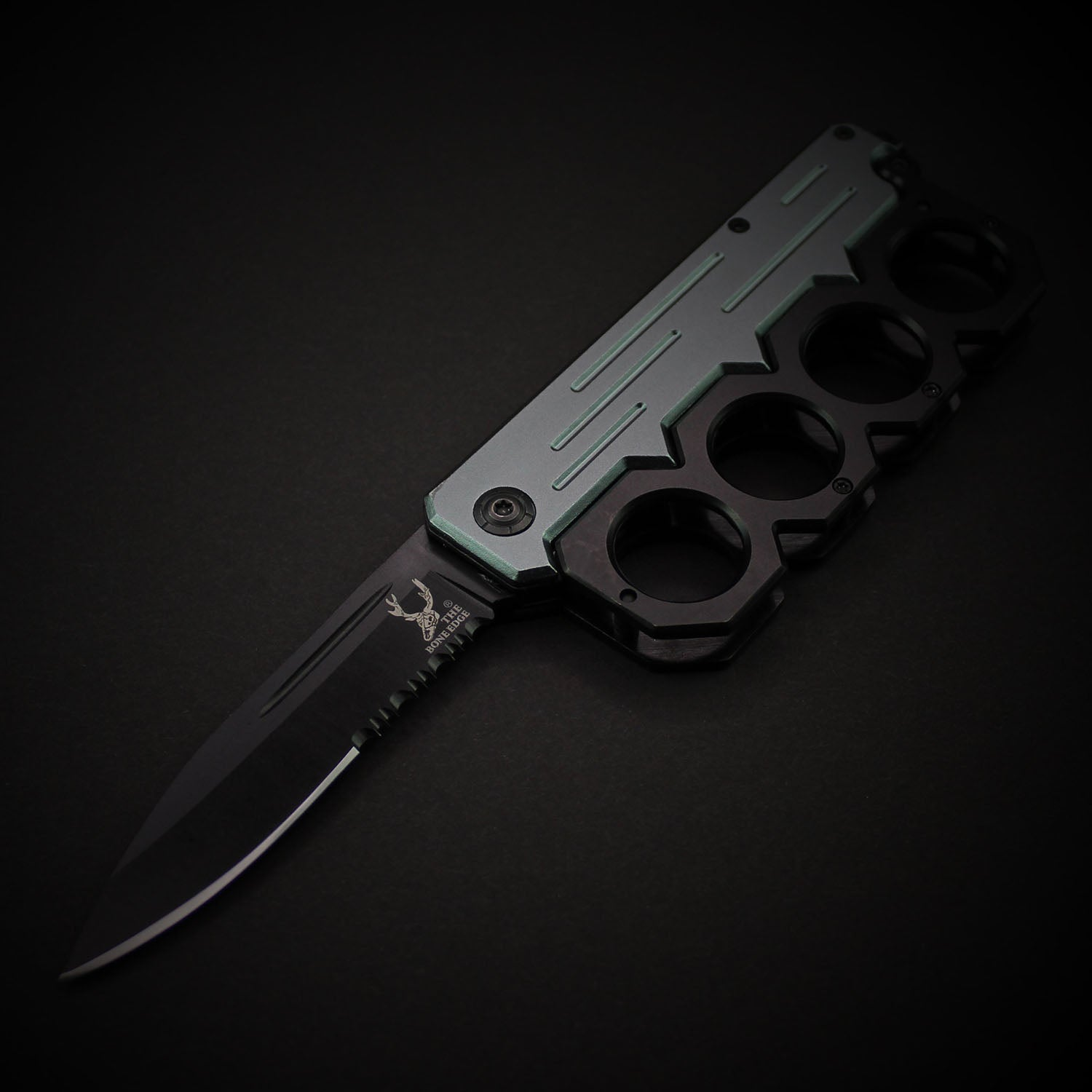 Brass Knuckle Spring Assisted Folding Pocket Knife
