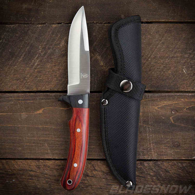 Bushcraft fixed blade knife with nylon sheath