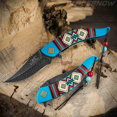 Blue  Native American feather spring assisted Knife