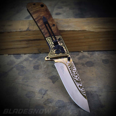 wooden Cowboy Spring Assisted Folding Knife