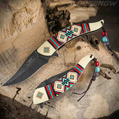 white Native American spring assisted Knife