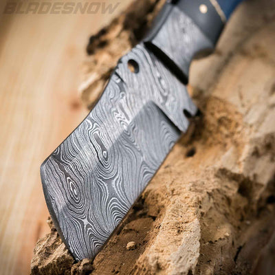 Damascus Steel Blue Horn Cleaver Fixed Blade Knife