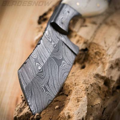 Damascus Steel Horn Handle Sheepsfoot Fixed Blade Knife
