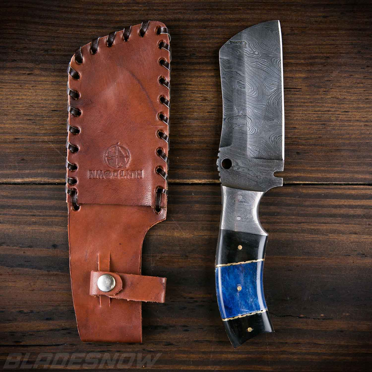 Damascus Steel Cleaver - Fixed Blade Knife Blue Handle