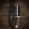 Fixed blade bowie knife with nylon sheath belt