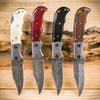 4 pc damascus steel pocket knives with bone handle