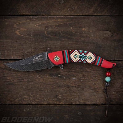 Native American Feather Spring Assist Knife Red