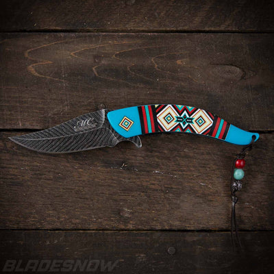 Native American Feather | Spring Assisted Turquoise knife