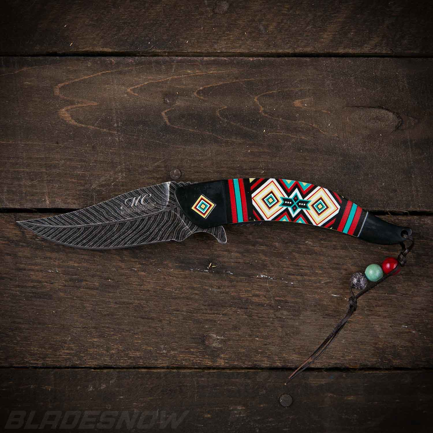 Native American Feather Spring Assist Knife Black