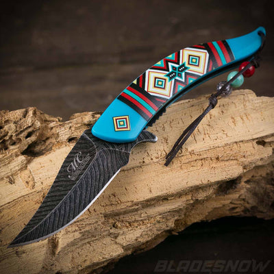 Native American Feather Spring Assist Knife Turquoise