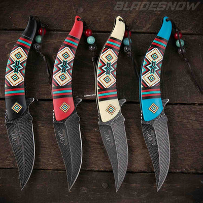 Native American Feather Spring Assist Knife Set 4pc