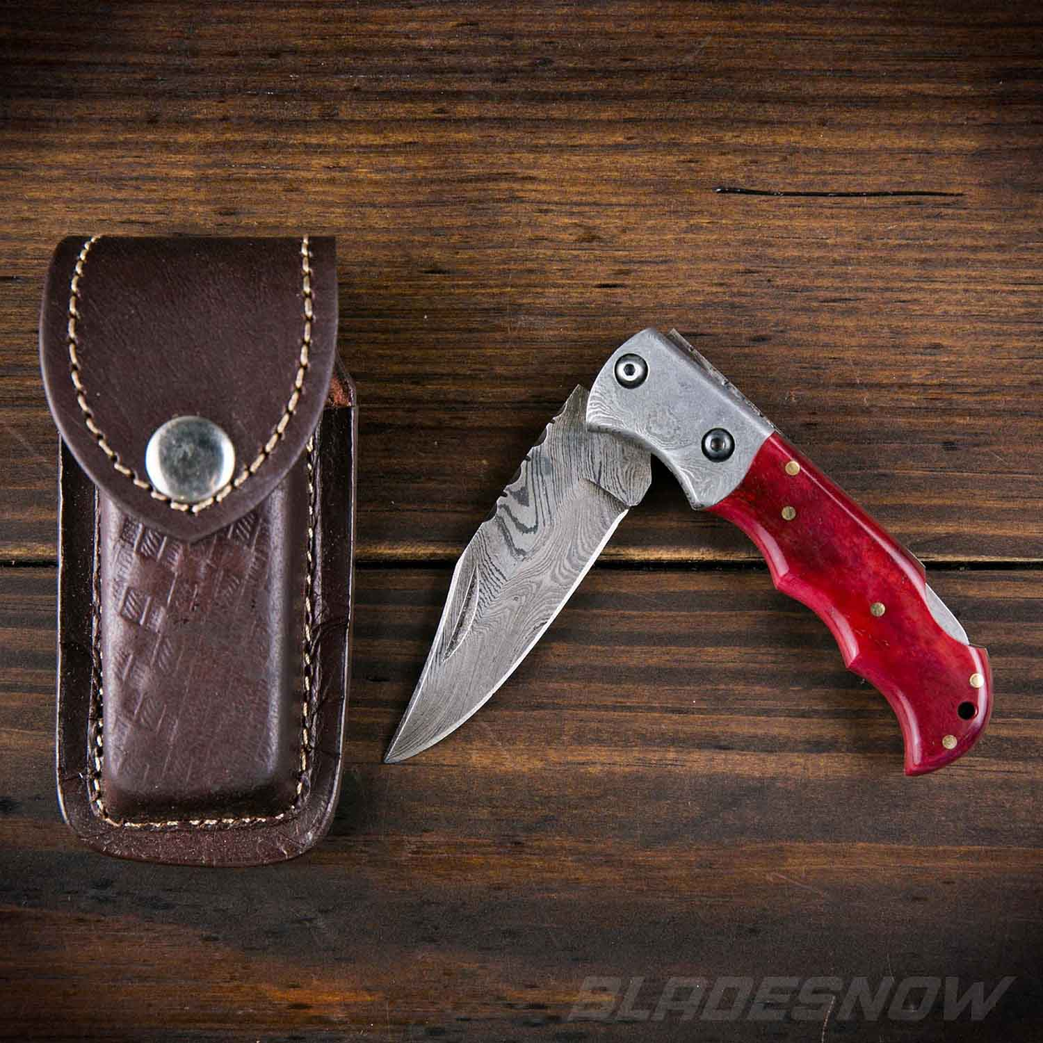"6.5"" Damascus Steel Folding Pocket Knife with Red Bone Handle"