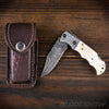 Damascus Folding Pocket Knife with leather cover
