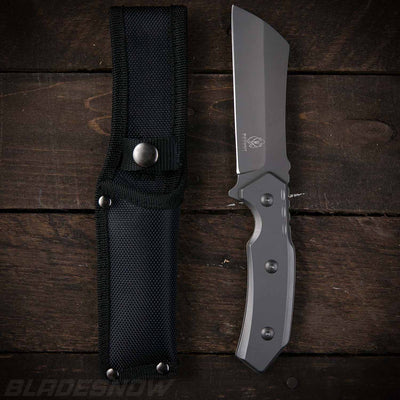 Tactical gray tang cleaver with nylon sheath