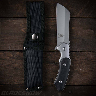Tactical combat cleaver with nylon sheath