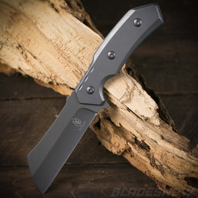 Stainless steel gray tang combat cleaver