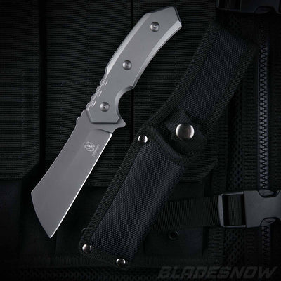 Fixed Blade Tactical Combat Cleaver | Gray Tang Knife