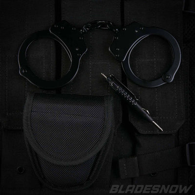 Black police handcuffs with black pouch
