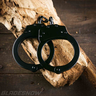 Double lock balck steel handcuffs