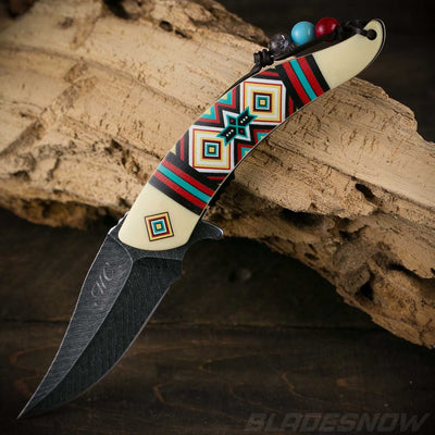 sharp blade Native American spring assisted Knife