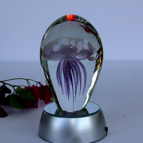 Small Jellyfish Paperweight Purple Moon with Led base