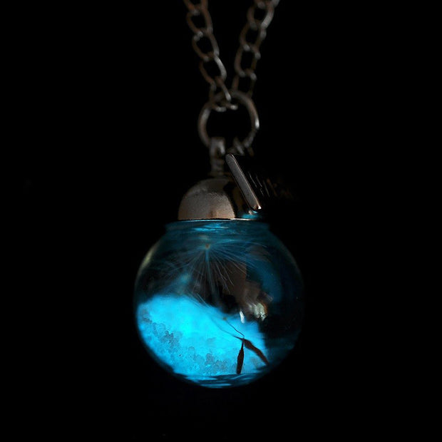 Glow in the Dark Dandelion Glass Necklace